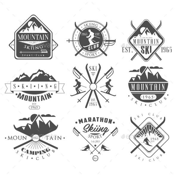 Vintage Skiing Labels and Design Elements Set