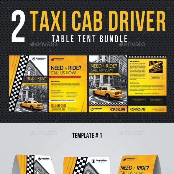 2 Taxi Cab Drive Table Tent Bundle
