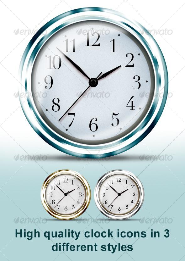 Glossy clock icons - Web Icons