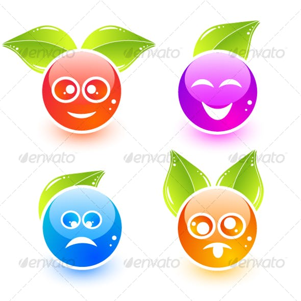 Cute emoticon icons with leaves
