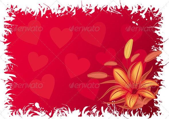 Valentines grunge background with hearts - Valentines Seasons/Holidays