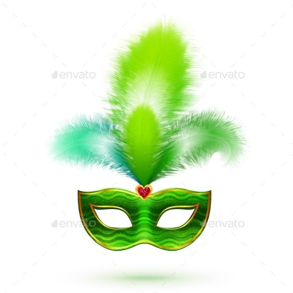 Green Venetian Carnival Mask with Feathers
