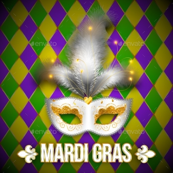 Gold and White Carnival Mask - Backgrounds Decorative