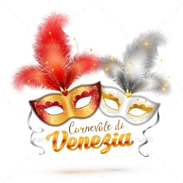 Carnevale Di Venezia Sign and Carnival Masks - Decorative Symbols Decorative