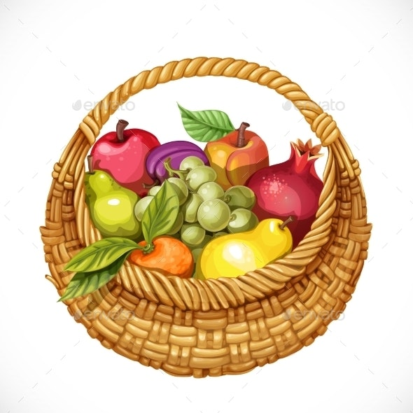Realistic Round Wicker Basket Filled with Fruits - Food Objects