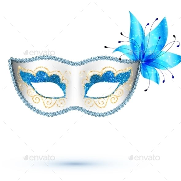White Carnival Mask with Blue Flower
