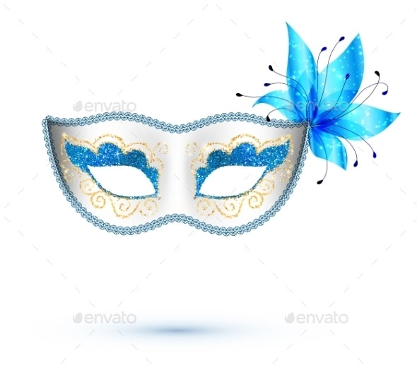 White Carnival Mask with Blue Flower - Weddings Seasons/Holidays