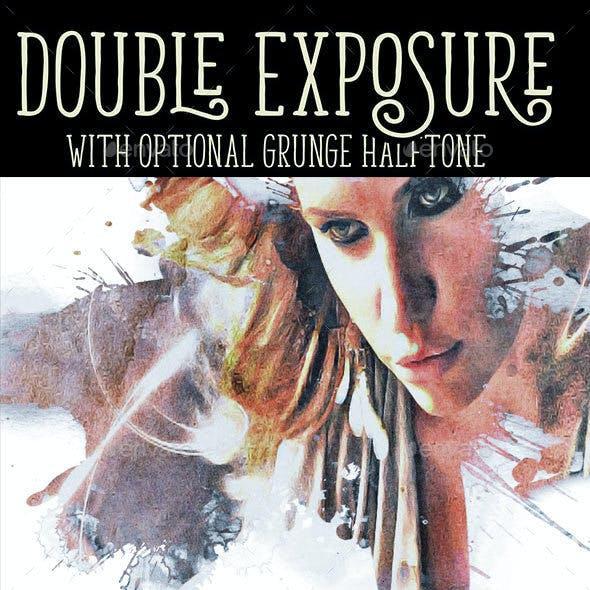 Double Exposure with Optional Grunge Overlay