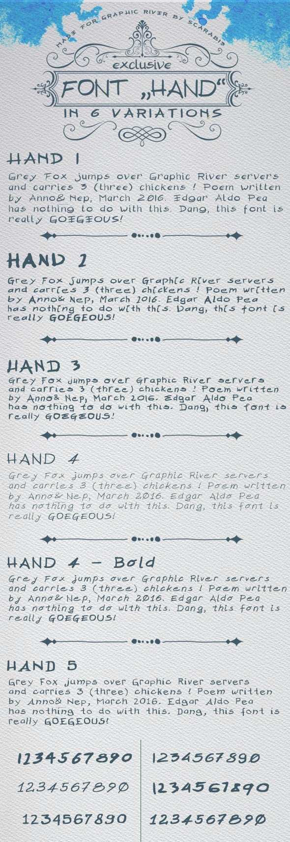 "Font ""HAND"" in 6 versions  - Handwriting Fonts"