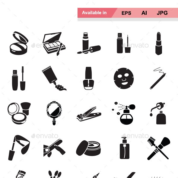Beauty products vector icons