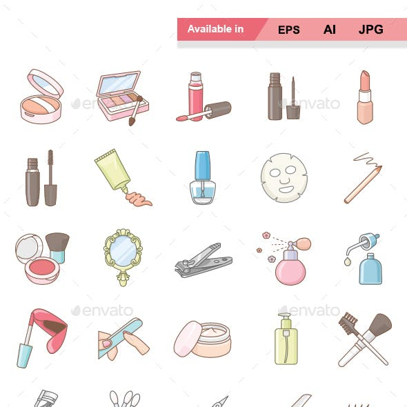 Beauty products color vector icons