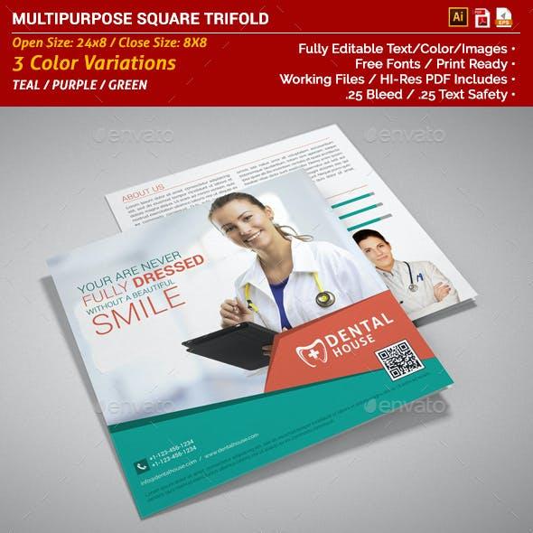 Multipurpose Square Trifold Brochure - Dental