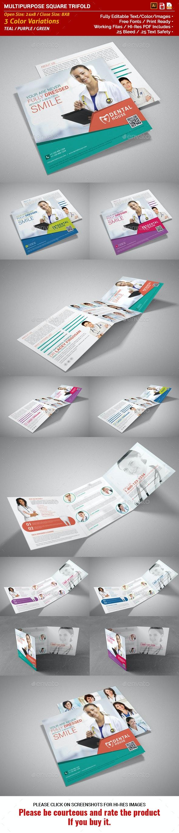 Multipurpose Square Trifold Brochure - Dental - Corporate Brochures