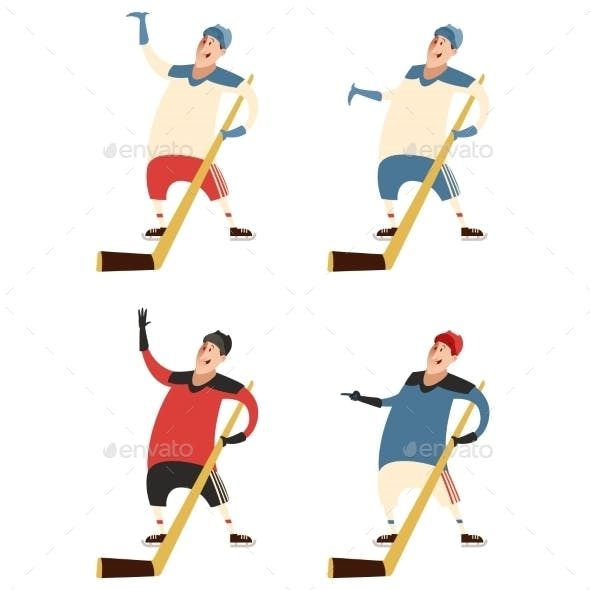 Set of Hockey Players