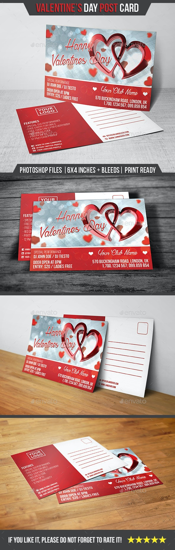 Valentines Day - Postcard - Cards & Invites Print Templates