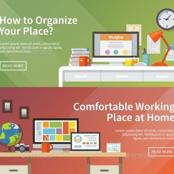 Vector Workplace Web Banners