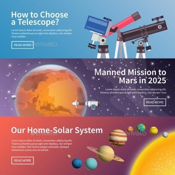 Astronomy Vector Banner Set By Mikalaimanyshau Graphicriver