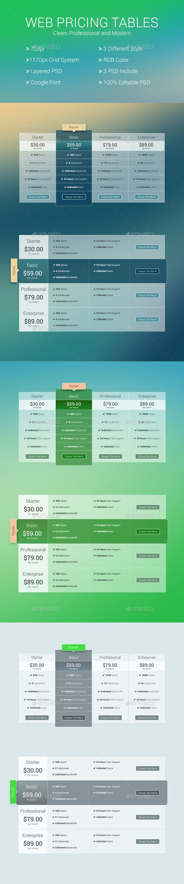 Website Pricing Tables - Tables Web Elements