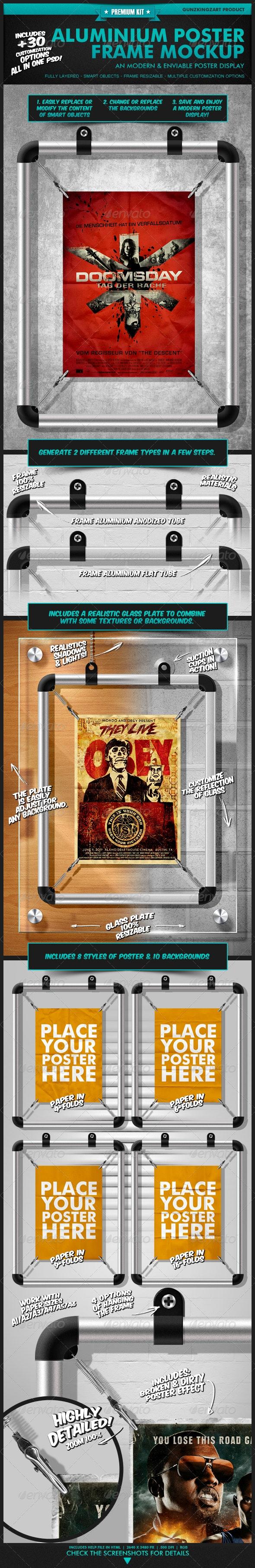 Aluminium Poster Frame Mockup - Premium Kit - Posters Print