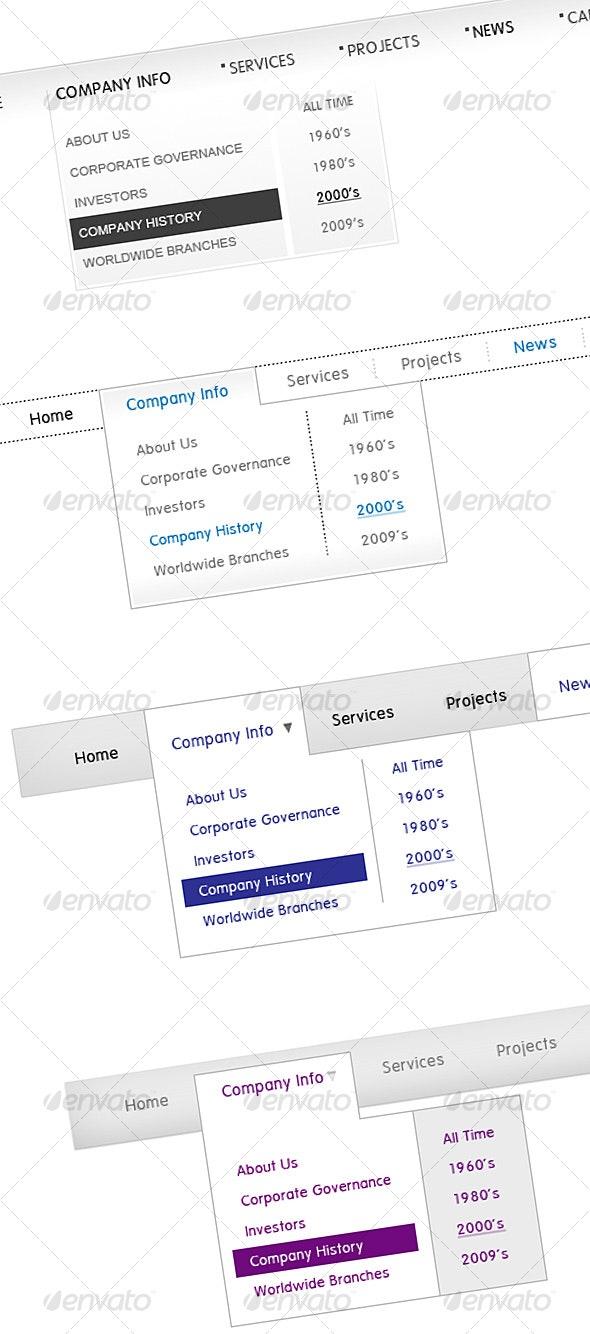 Dropdown Corporate Menus - Web Elements