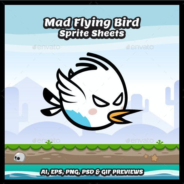 Mad Flying Bird Sprite Sheets Game Character