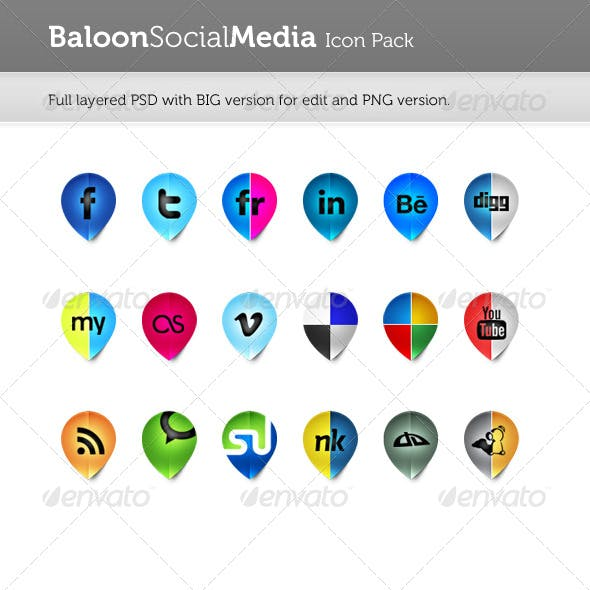 Baloon Social Media Icon Pack