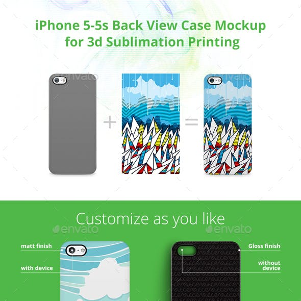 iPhone 5-5s Case Design Mockup for 3d Sublimation Printing - Back View
