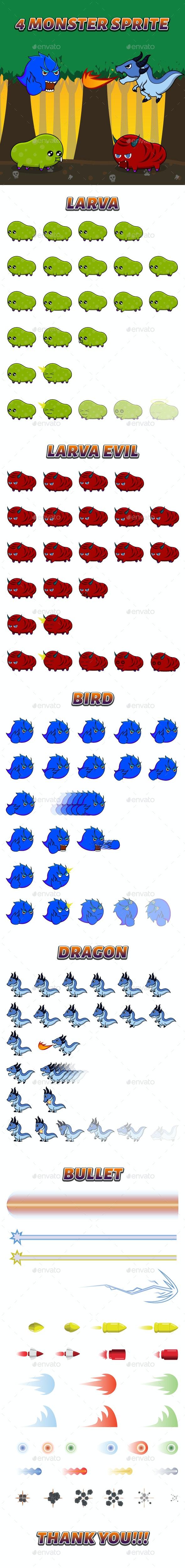 4 Monster Sprite - Sprites Game Assets