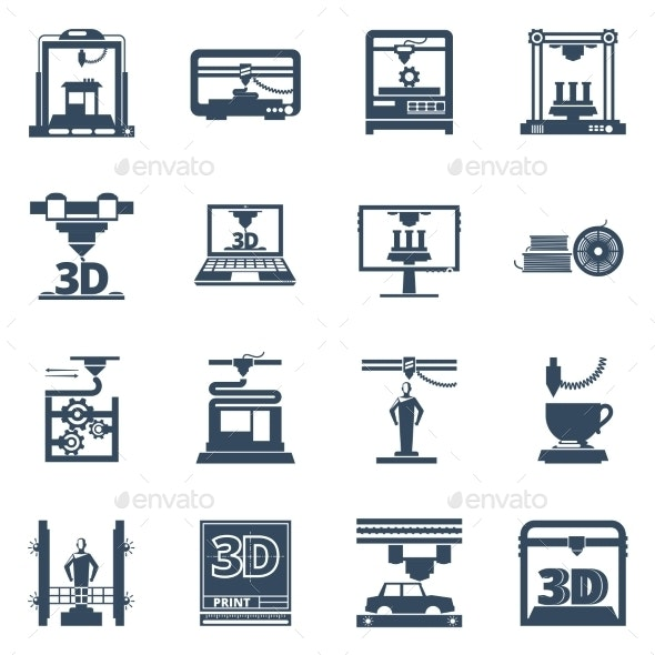 3D Printing Black Contour Icons Collection  - Technology Icons