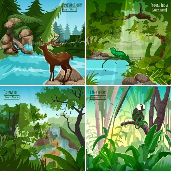 Forest Landscape 4 Flat Icons