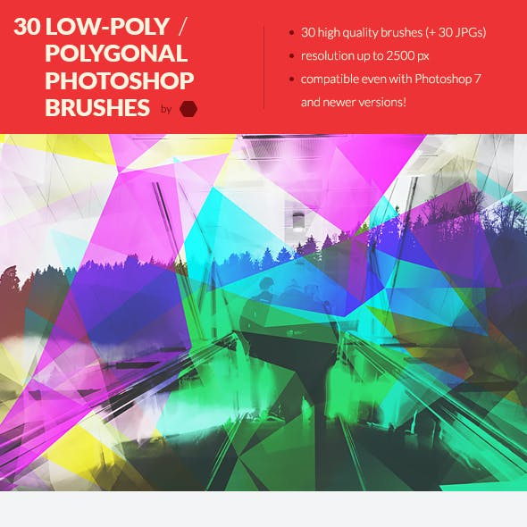 30 Low-Poly / Polygonal Photoshop Brushes #3