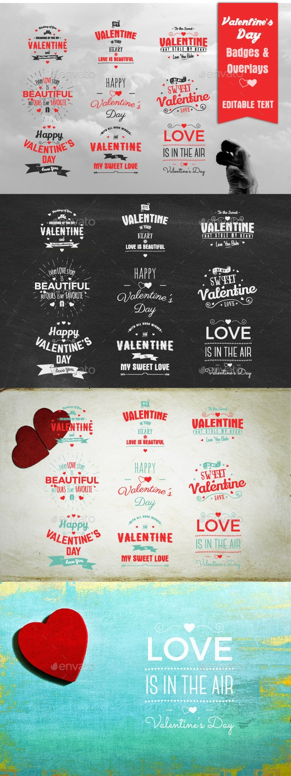 Valentine's Day Badges & Overlays - Badges & Stickers Web Elements