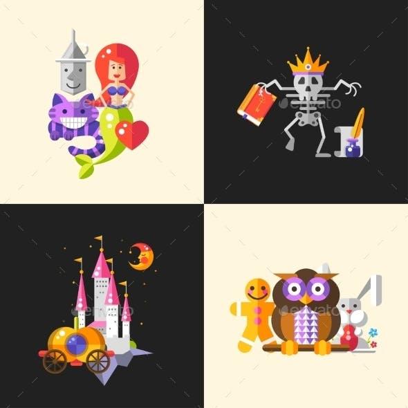 Fairy Tales Flat Design Magic Cartoon Characters
