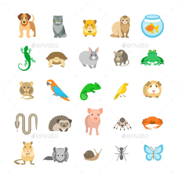 Animals Pets Vector Flat Colorful Icons Set