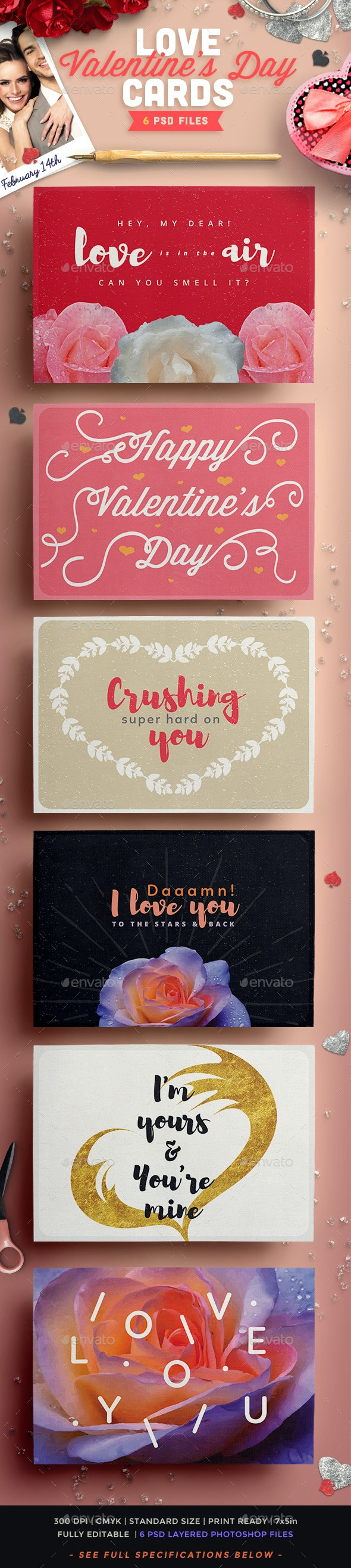Valentine's Day Love Cards Pack II - Greeting Cards Cards & Invites