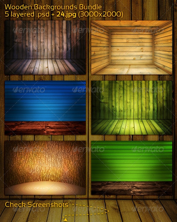 Wooden Backgrounds Bundle - 3D Backgrounds