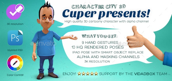 3D Character rendered poses (Character City) - Characters 3D Renders