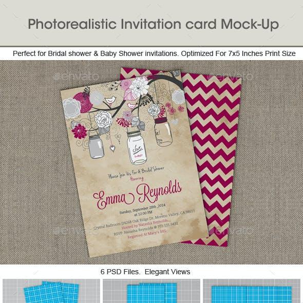 Photorealistic Invitation Card Mock-Up