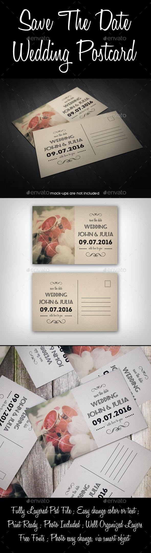 Save The Date Wedding Postcard - Weddings Cards & Invites