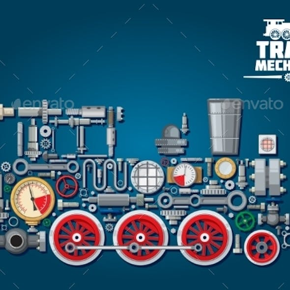 Steam Locomotive or Train from Mechanical Parts