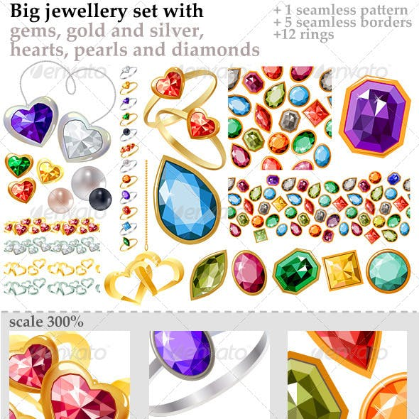 Big Jewellery Set with Gems and Gold Rings