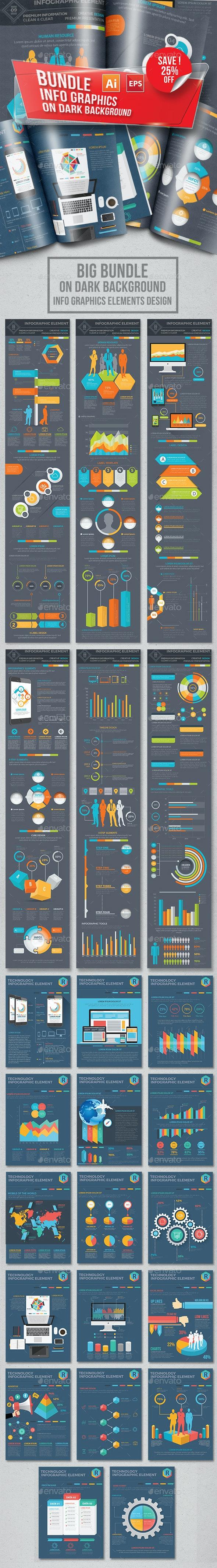 Bundle Infographic on dark background - Infographics