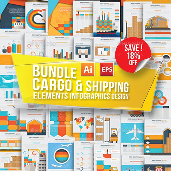 Bundle Cargo, Shipping & Logistic Infographics Design