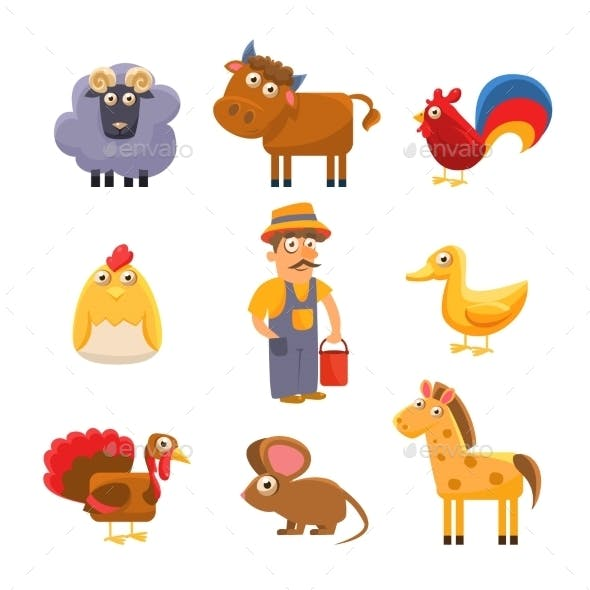Farm Animal Collection. Colourful Vector