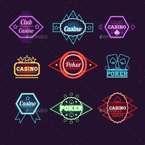 Neon Light Poker Club And Casino Emblems