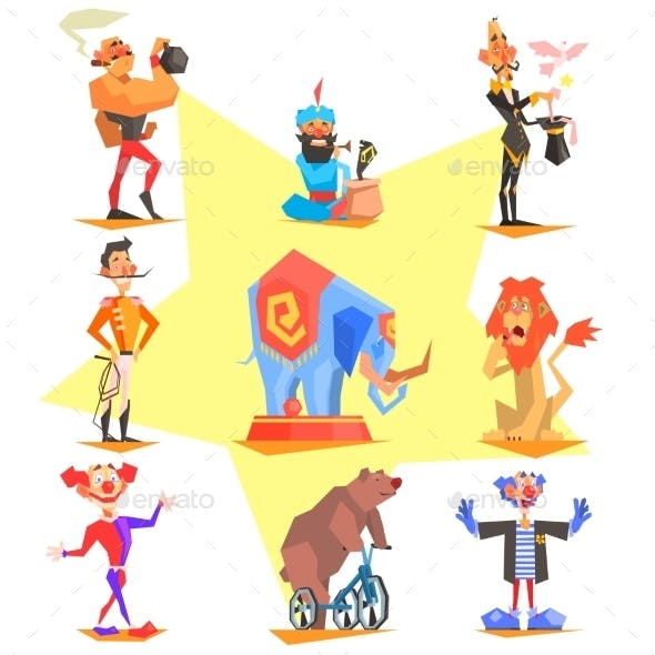 Circus Collection With Carnival, Fun Fair, Vector