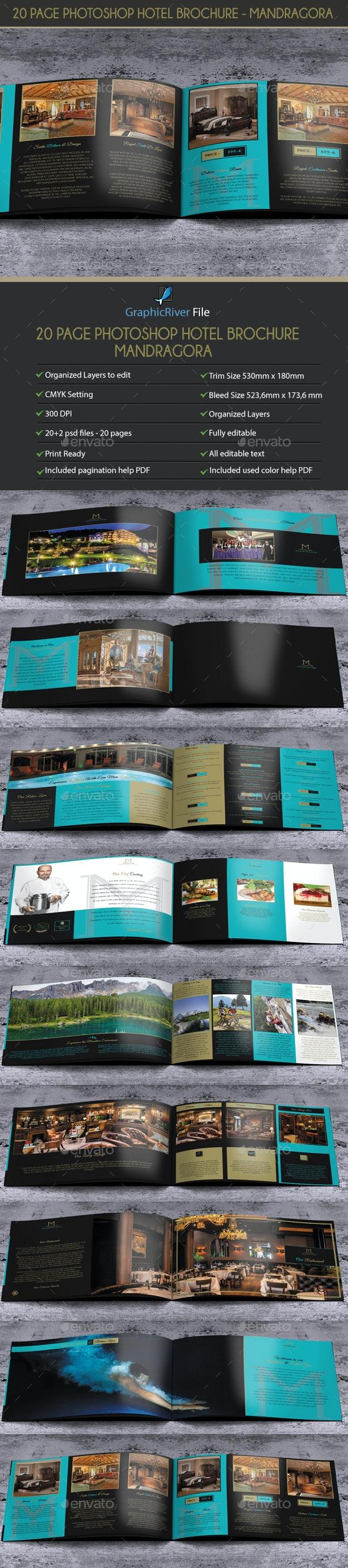 20 Pages PSD Hotel Brochure - Mandragora - Brochures Print Templates