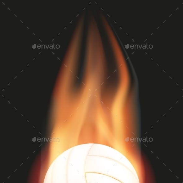 Volleyball Ball with Flame
