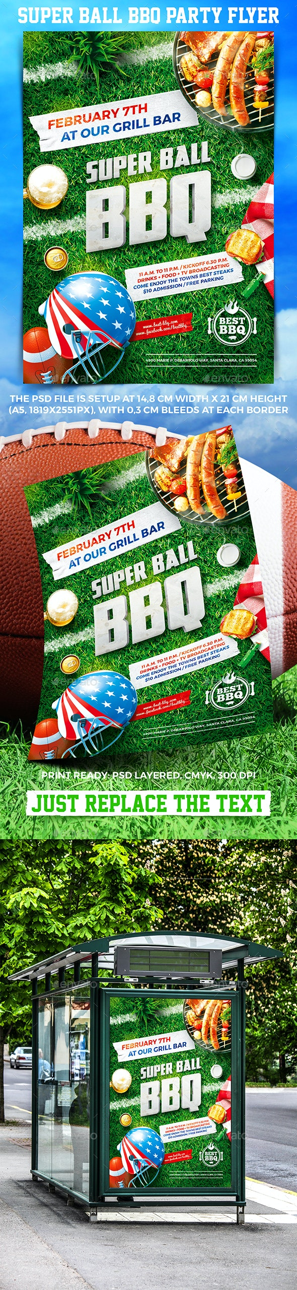 Super Ball BBQ Party Flyer - Events Flyers