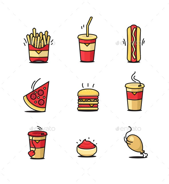 Fastfood Icons Set By Pickee Graphicriver